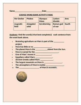 MARS WORD BANK ACTIVITY GRADES 3-7 WITH ANSWER KEY