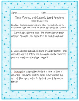 MASS AND VOLUME WORD PROBLEMS-MULTIPLICATION & DIVISION