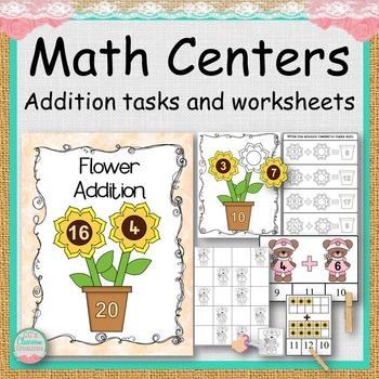 MATH CENTERS Addition Sunflower Theme