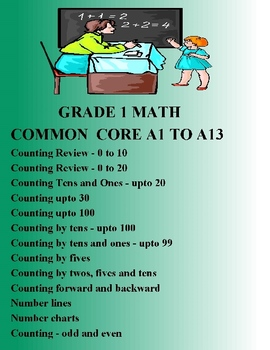 MATH COMMON CORE GRADE 1 - A1 TO A13 COUNTING ELEMENTARY