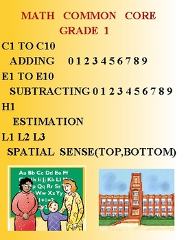 MATH COMMON CORE GRADE 1 - C1 TO C10 E1 TO E10 H1 L1 L2 L3