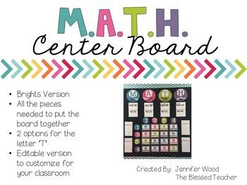 M.A.T.H. Center Board {Bright Colors}