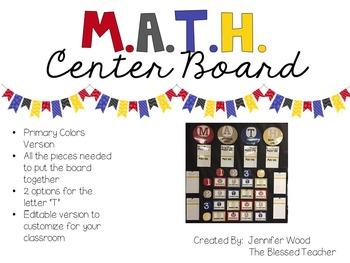 M.A.T.H. Center Board {Primary Colors}