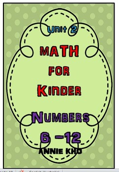 MATH FOR KINDER NUMBER 6-10