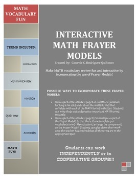 MATH Interactive Frayer Models for Operations (Vocabulary!)