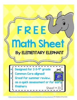 MATH Skill Sheet 23-Place Value, Add/Subt., Mult. by Eleme