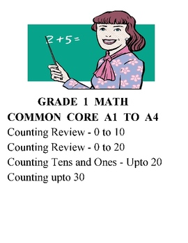 MATH GRADE 1 COMMON CORE A1 TO A4 - COUNTING UPTO 100