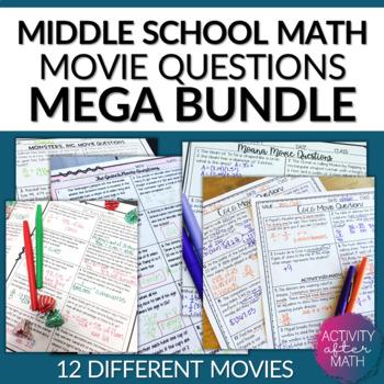 MATH MOVIE questions BUNDLE! 20% savings!!