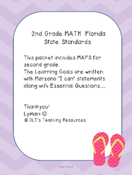"MATH- Marzano ""I can"" Statements and (EDITABLE) Essential"