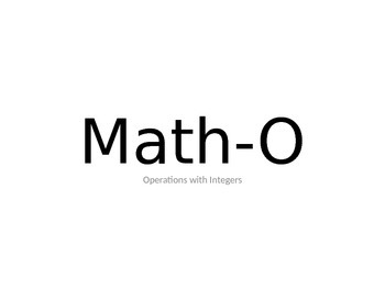 MATH-O Adding and Subtracting Integers