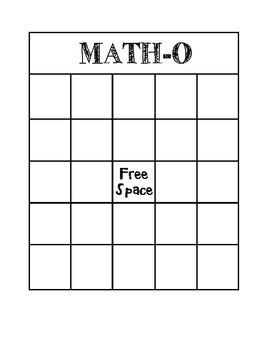 MATH-O Game Board