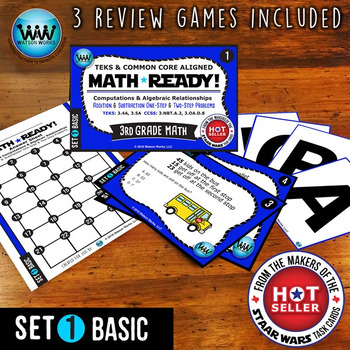 MATH READY 3rd Grade Task Cards: Add & Subtract 1-Step & 2