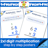 2 by 1 Digit Multiplication - STEP by STEP POSTERS