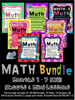 MATH Skill Sheets & Mini-Lessons Month 1-7 BUNDLE by Eleme