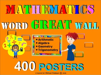 MATH WORD WALL - 400 Printable Posters or Cards! Vocabular