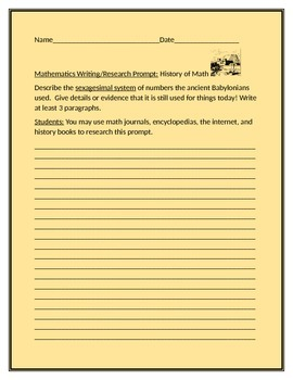 MATH WRITING/RESEARCH PROMPT: HISTORY OF MATH GRADES 6-12