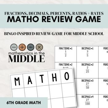 MATHO Review Game (Fractions, Decimals, Percents, Rates, &