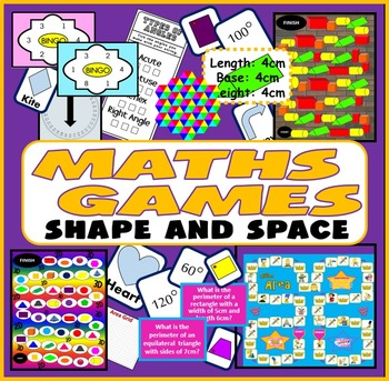 MATHS BOARD GAMES & ACTIVITIES KS2-4 SHAPES ANGLES AREA