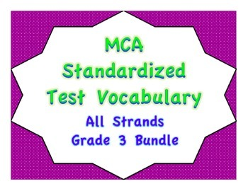 MCA Standardized Test Vocabulary, All Strands Grade 3 Bundle