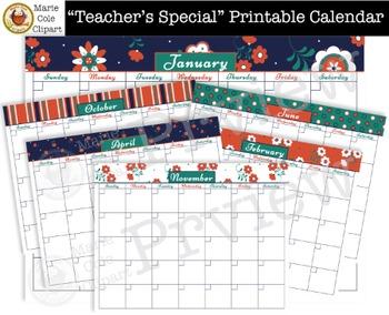 """Teacher's Special"" Printable Calendar, Daily & Weekly Pla"