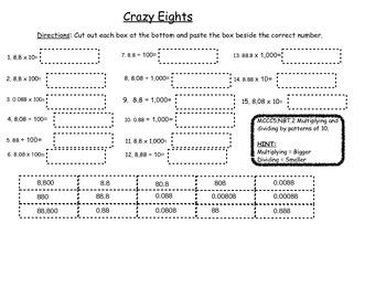 MCC5.NBT.2 Crazy Eights