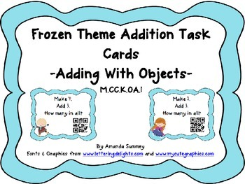 M.CC.K.OA.1:  Kindergarten Add w/ Objects - Frozen Theme T