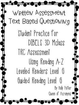 MClass TRC Written Response Practice Using Reading A-Z Level G