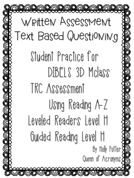 MClass TRC Written Response Practice Using Reading A-Z Level H