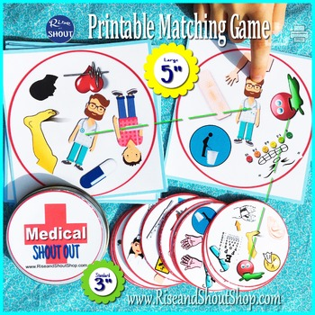 """MEDICAL TERMS Matching Game SHOUT OUT; 31 printable 3"""" & 5"""