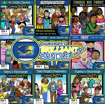 MEGA BUNDLE: CommUNITY School and Family 209 pc. Clip-Art