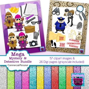 Cops, Robbers, Detectives and Mystery Clips and Digi Paper