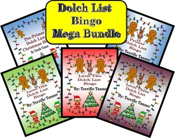 MEGA Bundle! Christmas Dolch Sight Word Bingo Set (Pre-pri
