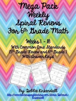 MEGA PACK Weekly Spiral Review Weeks 1-18