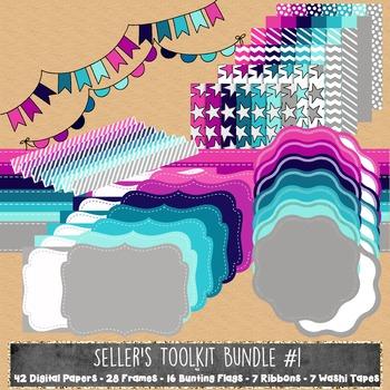 MEGA Seller's Toolkit Bundle - Digital Papers, Frames, Rib