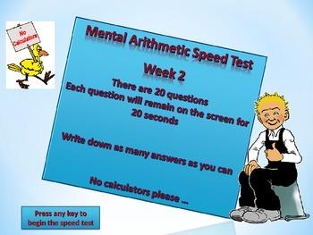 MENTAL ARITHMETIC TEST WEEK 2