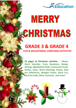 MERRY CHRISTMAS Grade 3 & Grade 4 Fun & Educational Christ