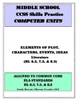 MIDDLE SCHOOL CCSS RL 6.3 7.3 8.3 ELEMENTS OF PLOT - COMPU