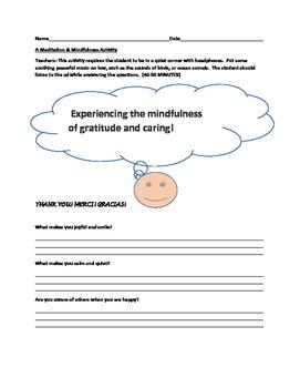 MINDFUL MEDITATION ACTIVITY:  GRATITUDE