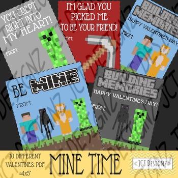 MINE TIME VALENTINES, mine craft inspired valentines, vale