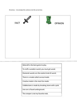 MINECRAFT theme FACT & OPINION activity