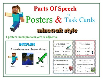 MINECRAFT theme  Parts of Speech -POSTERS & 12 TASK CARDS