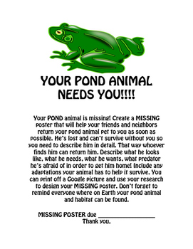 MISSING Animal Poster / habitat