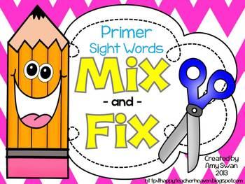 MIX & FIX Sight Word Mini-Book - Dolch Primer CCSS Aligned