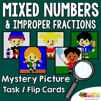 Mixed Numbers and Improper Fractions Mystery Pictures Task