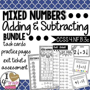 MIXED NUMBERS: Add & Subtract CCSS 4.NF.B.3c