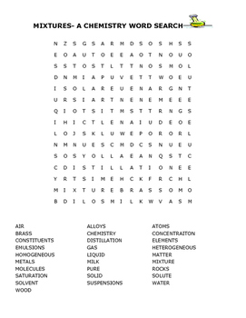 MIXTURES- A CHEMISTRY WORD SEARCH