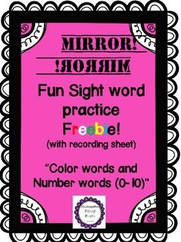 Color Words and Number Words FREEBIE! Mirror, Mirror! Fun