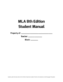 MLA 8th Edition Student Packet