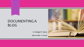 MLA 8th ed. Blog Citation Video