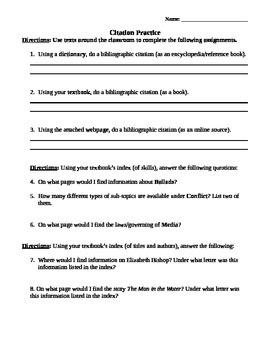 MLA Citation Practice
